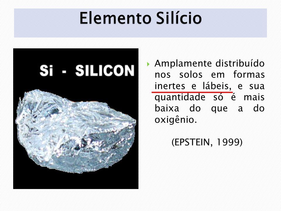 Elemento Silício Amplamente distribuído nos solos em formas inertes e lábeis, e sua quantidade só é mais baixa do que a do oxigênio.