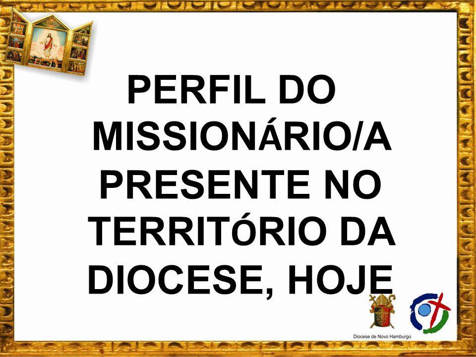 PERFIL DO MISSIONÁRIO/A PRESENTE NO TERRITÓRIO DA DIOCESE, HOJE