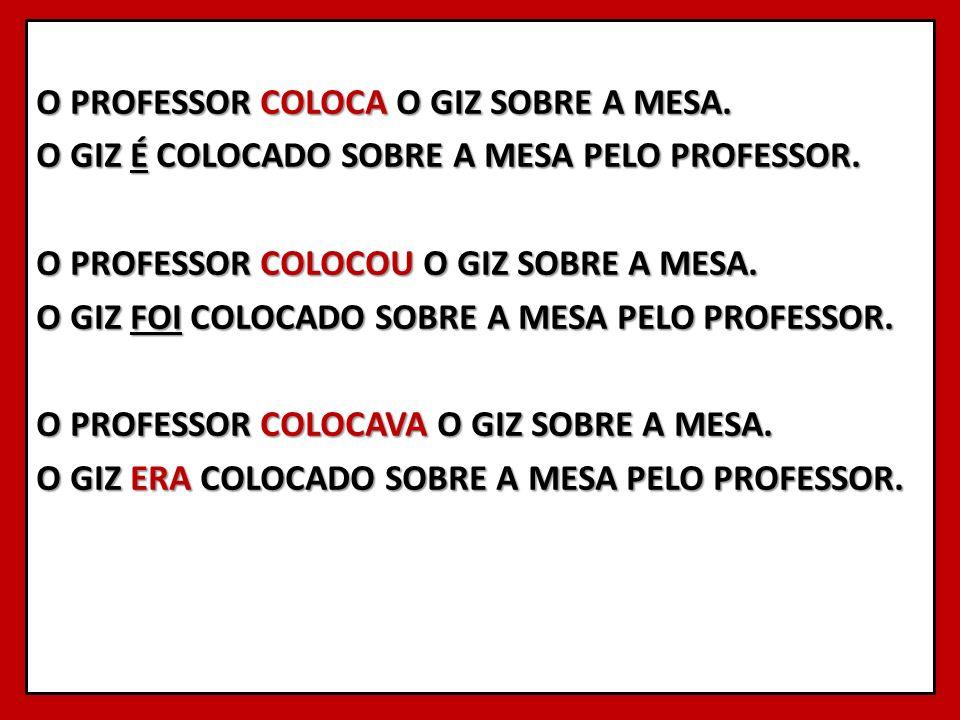 O PROFESSOR COLOCA O GIZ SOBRE A MESA