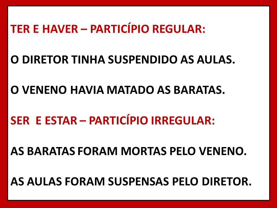 TER E HAVER – PARTICÍPIO REGULAR: O DIRETOR TINHA SUSPENDIDO AS AULAS
