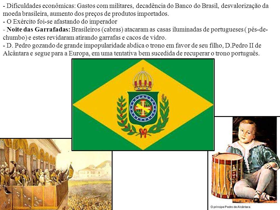- Dificuldades econômicas: Gastos com militares, decadência do Banco do Brasil, desvalorização da moeda brasileira, aumento dos preços de produtos importados.