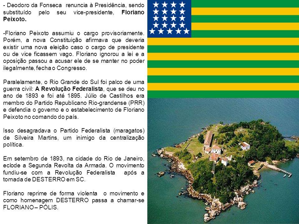 - Deodoro da Fonseca renuncia à Presidência, sendo substituído pelo seu vice-presidente, Floriano Peixoto.