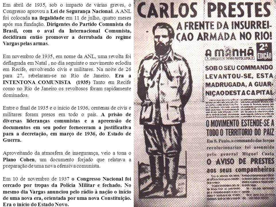 Em abril de 1935, sob o impacto de várias greves, o Congresso aprovou a Lei de Segurança Nacional. A ANL foi colocada na ilegalidade em 11 de julho, quatro meses após sua fundação. Dirigentes do Partido Comunista do Brasil, com o aval da Internacional Comunista, decidiram então promover a derrubada do regime Vargas pelas armas.