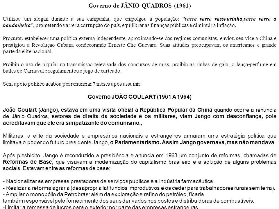 Governo de JÂNIO QUADROS (1961) Governo JOÃO GOULART (1961 A 1964)