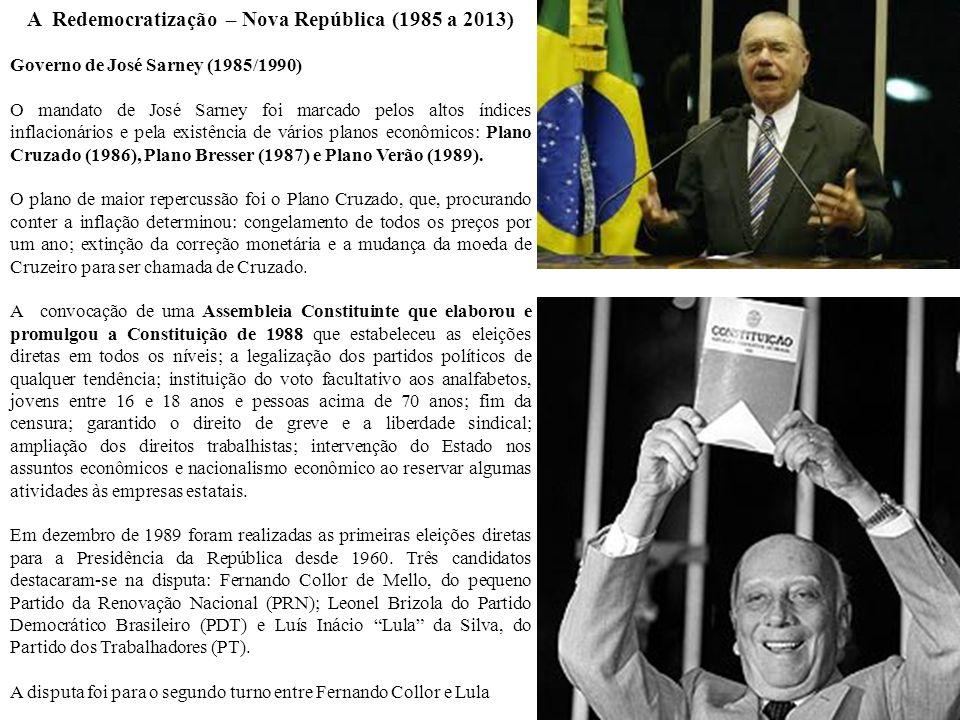 A Redemocratização – Nova República (1985 a 2013)