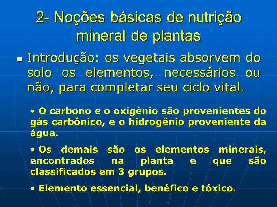 2- Noções básicas de nutrição mineral de plantas