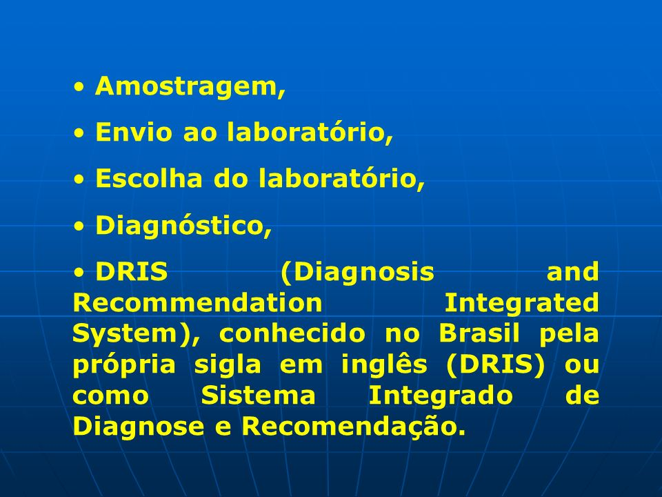 Amostragem,Envio ao laboratório, Escolha do laboratório, Diagnóstico,