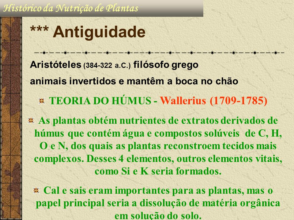 TEORIA DO HÚMUS - Wallerius (1709-1785)
