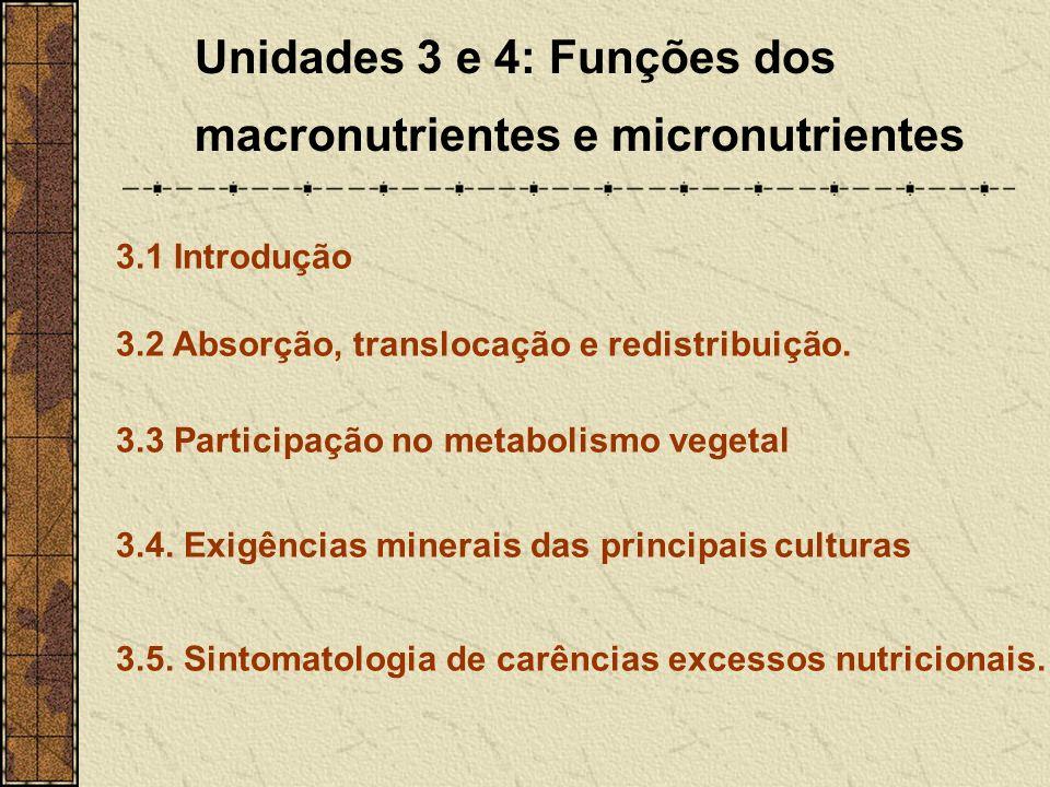 Unidades 3 e 4: Funções dos macronutrientes e micronutrientes
