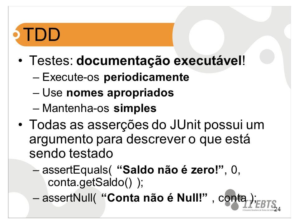 TDD Testes: documentação executável!