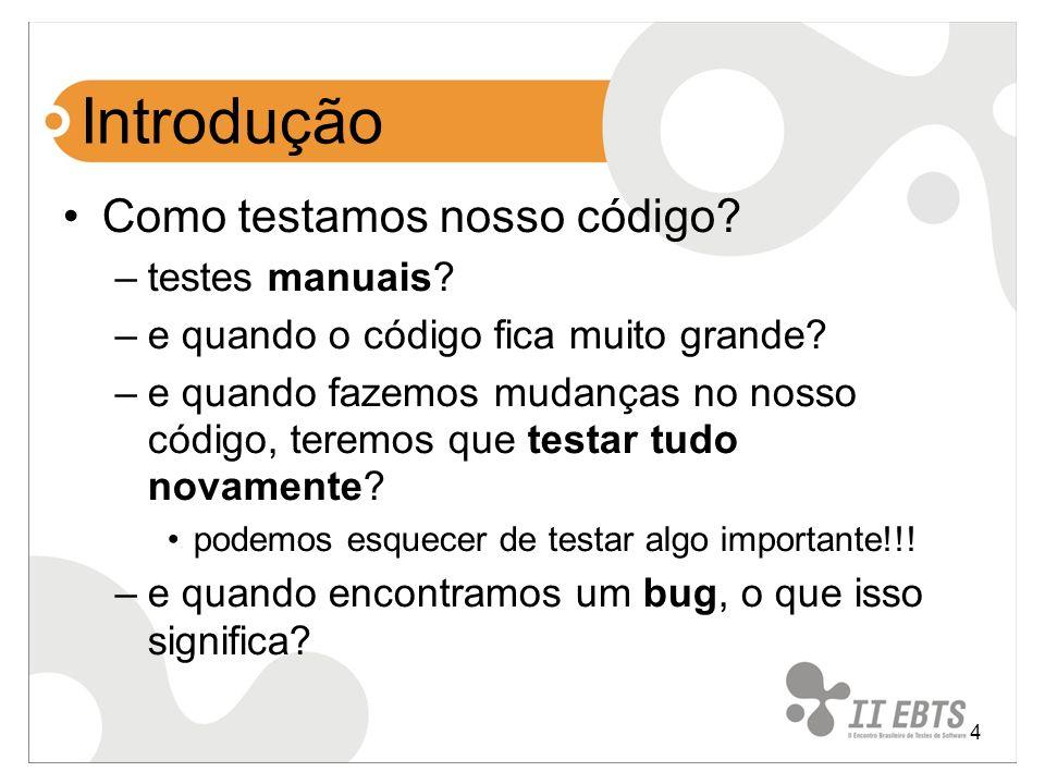 Introdução Como testamos nosso código testes manuais