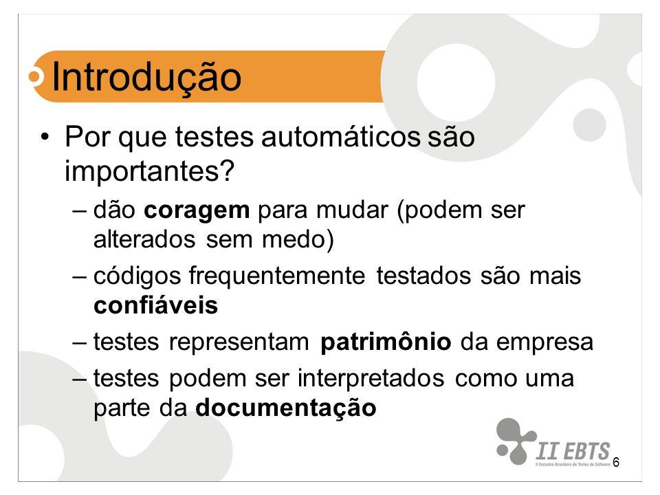 Introdução Por que testes automáticos são importantes