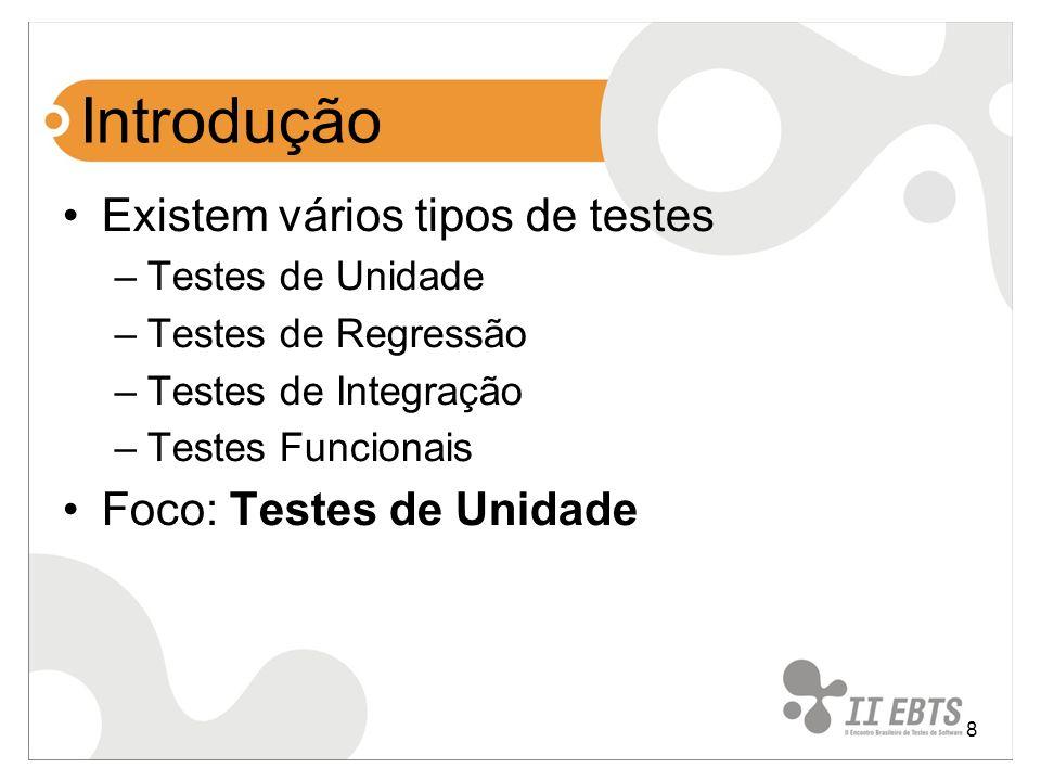 Introdução Existem vários tipos de testes Foco: Testes de Unidade