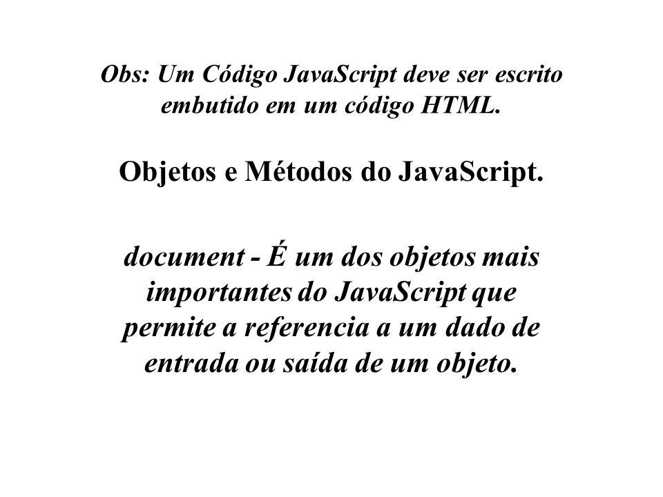 Obs: Um Código JavaScript deve ser escrito embutido em um código HTML.