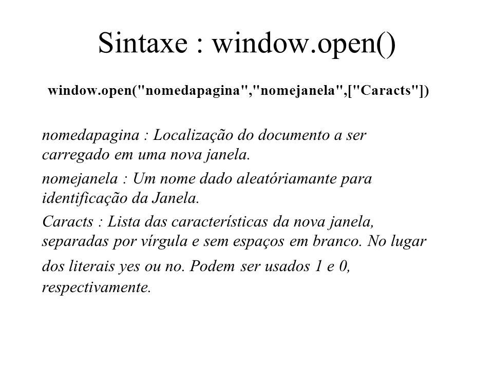 Sintaxe : window.open()