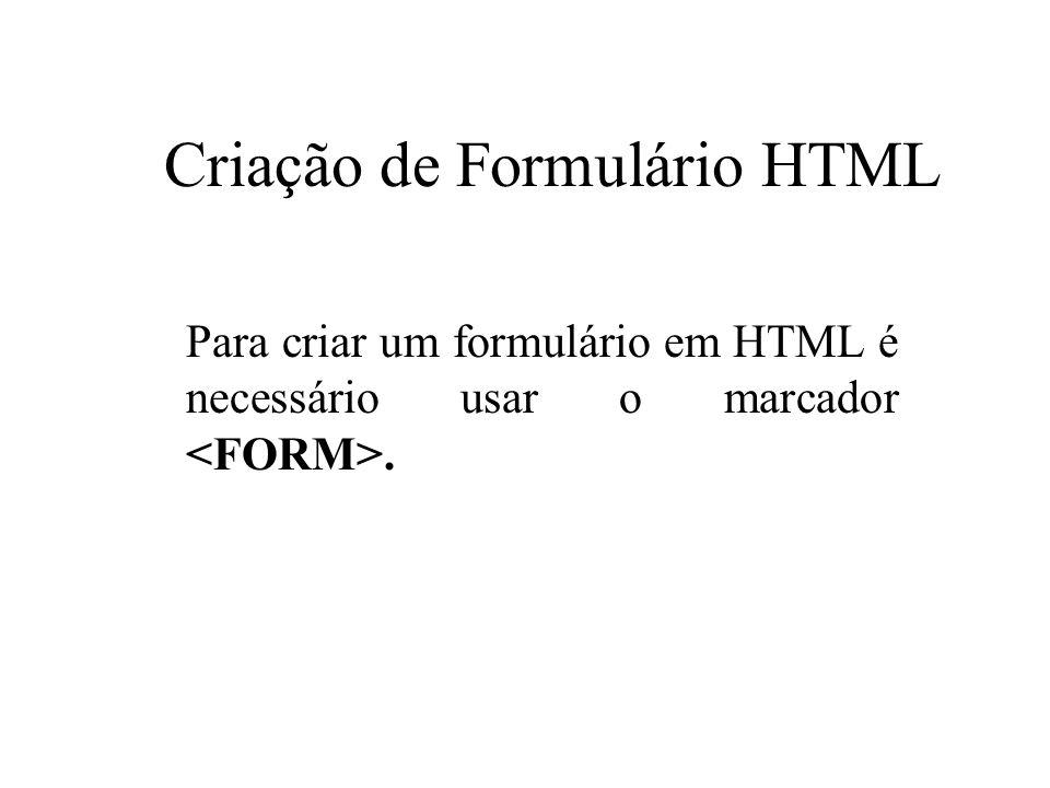 Criação de Formulário HTML