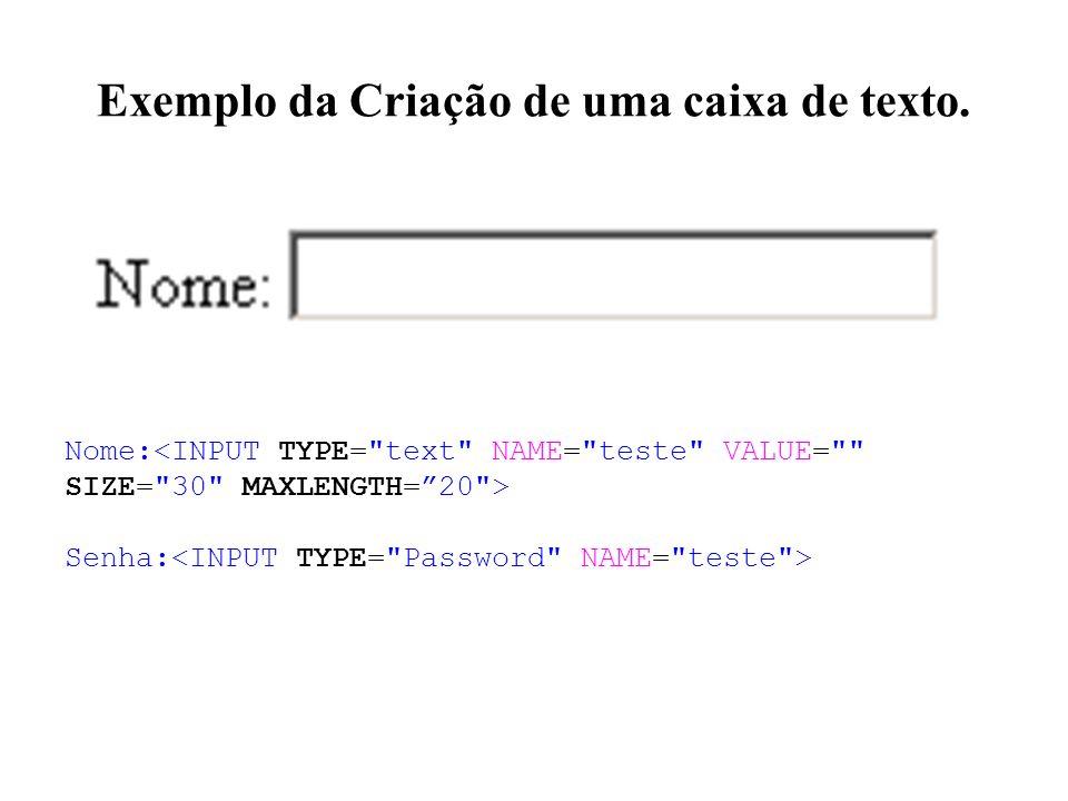 Exemplo da Criação de uma caixa de texto.