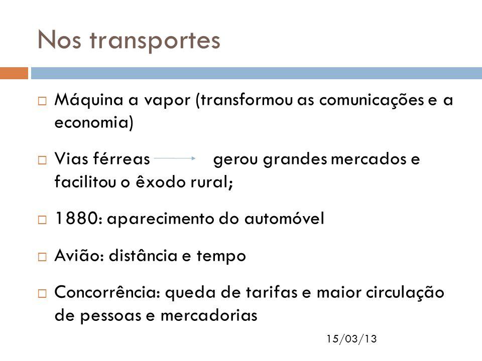 Nos transportes Máquina a vapor (transformou as comunicações e a economia)