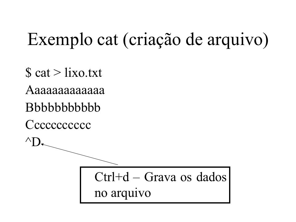 Exemplo cat (criação de arquivo)