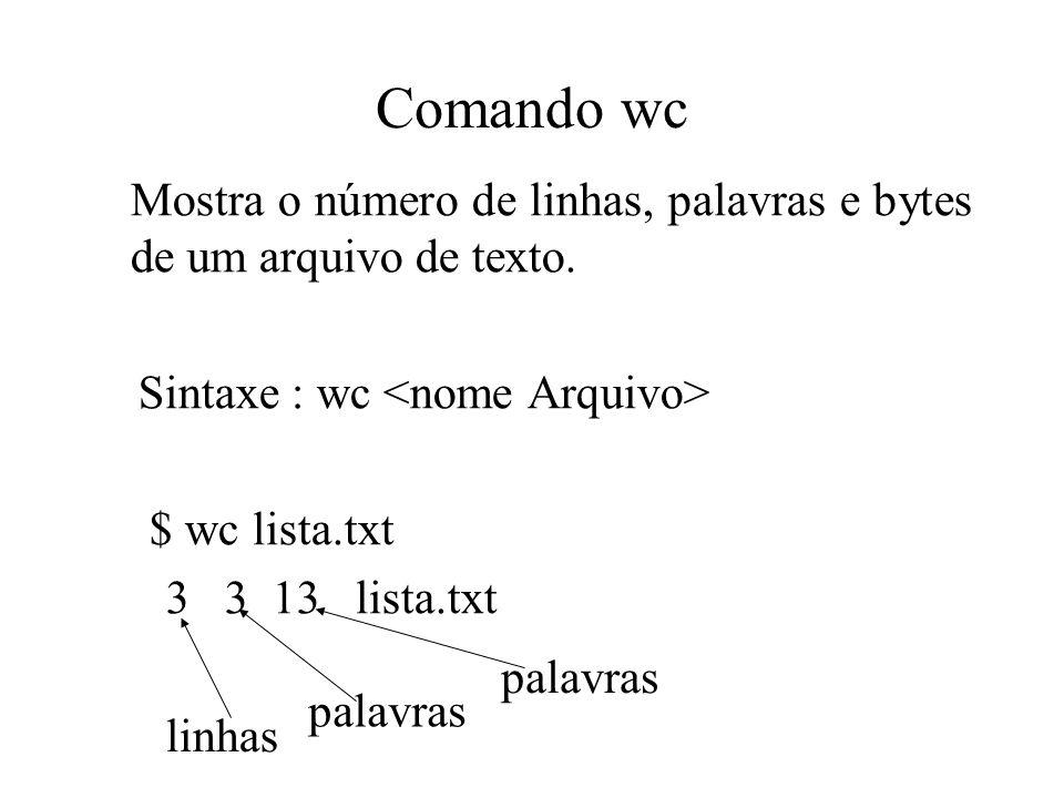 Comando wc Mostra o número de linhas, palavras e bytes de um arquivo de texto. Sintaxe : wc <nome Arquivo>