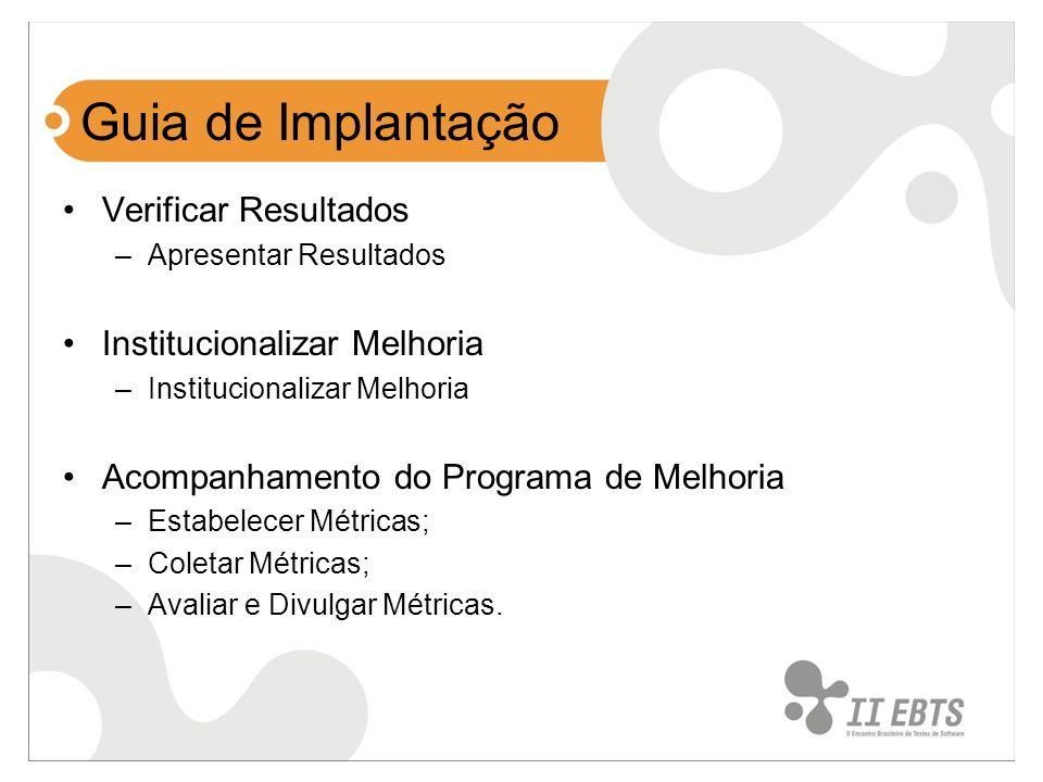 Guia de Implantação Verificar Resultados Institucionalizar Melhoria