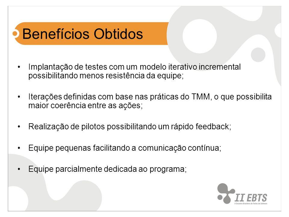 Benefícios ObtidosImplantação de testes com um modelo iterativo incremental possibilitando menos resistência da equipe;