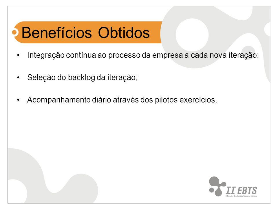 Benefícios Obtidos Integração contínua ao processo da empresa a cada nova iteração; Seleção do backlog da iteração;
