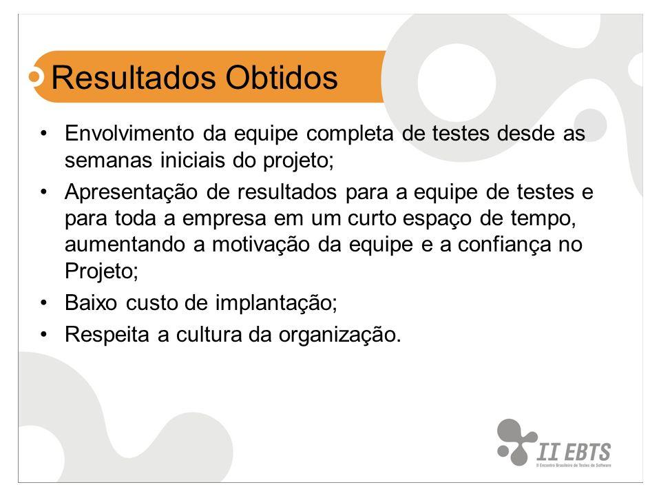 Resultados Obtidos Envolvimento da equipe completa de testes desde as semanas iniciais do projeto;