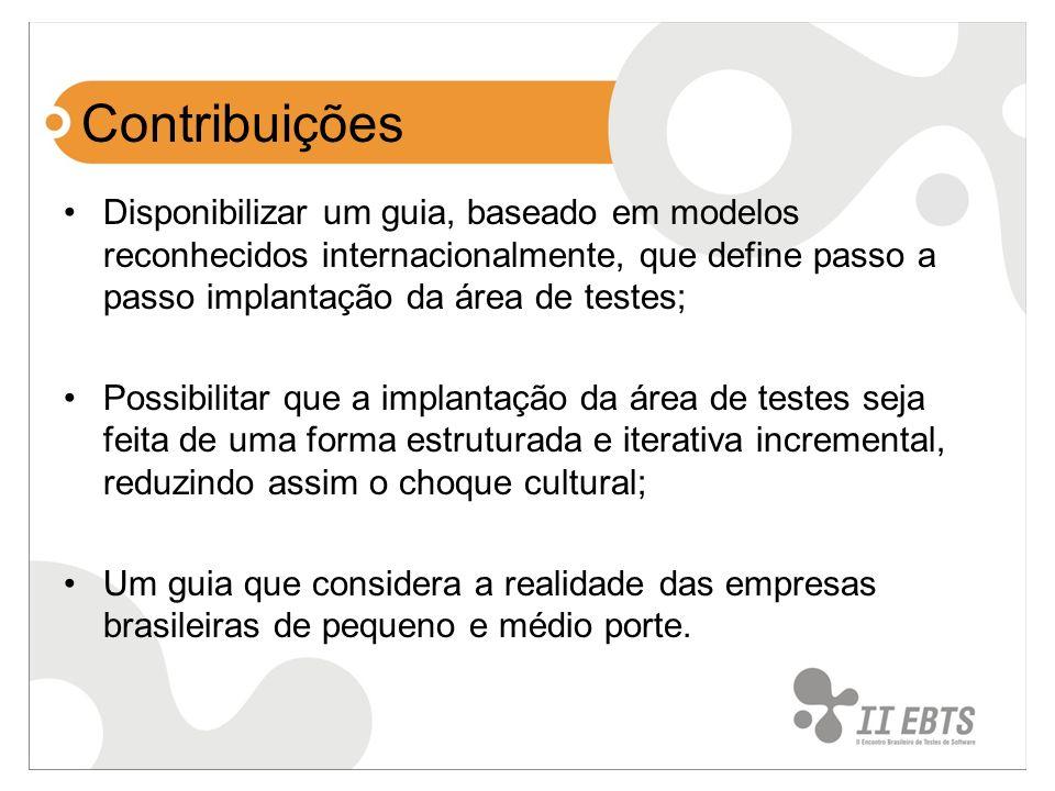 Contribuições Disponibilizar um guia, baseado em modelos reconhecidos internacionalmente, que define passo a passo implantação da área de testes;
