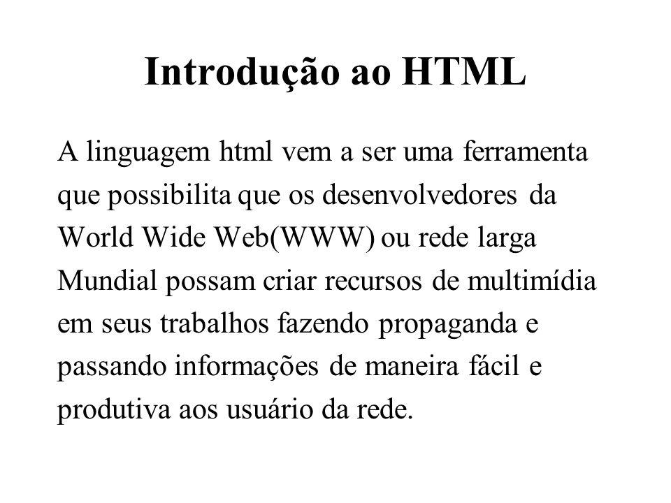 Introdução ao HTML A linguagem html vem a ser uma ferramenta