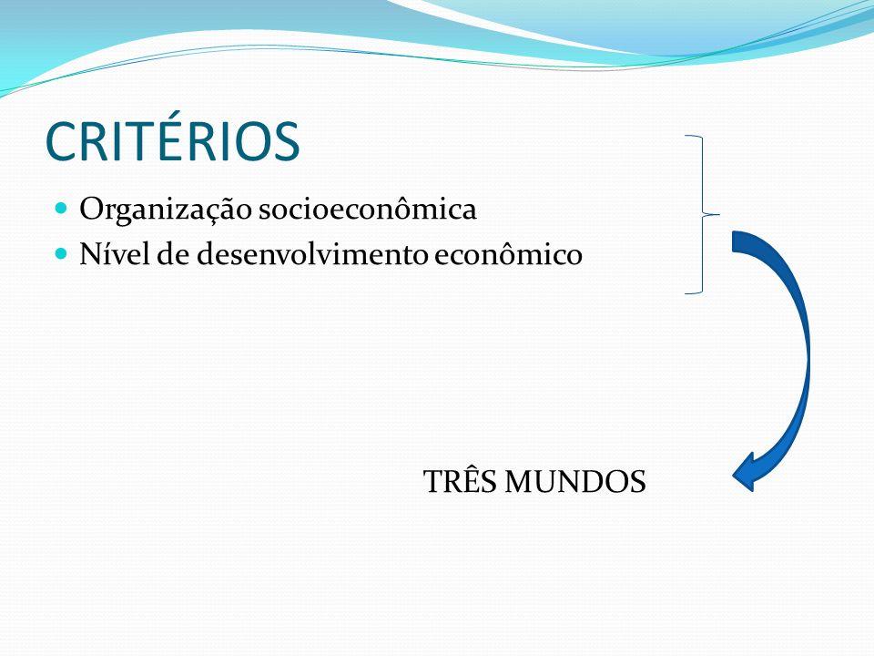 CRITÉRIOS Organização socioeconômica