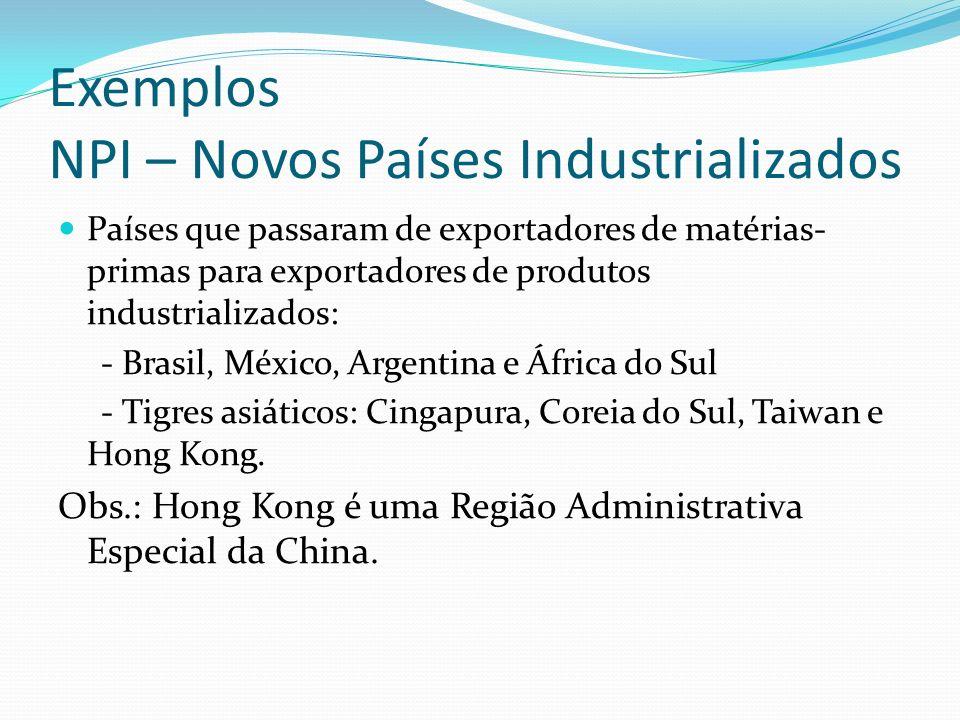 Exemplos NPI – Novos Países Industrializados