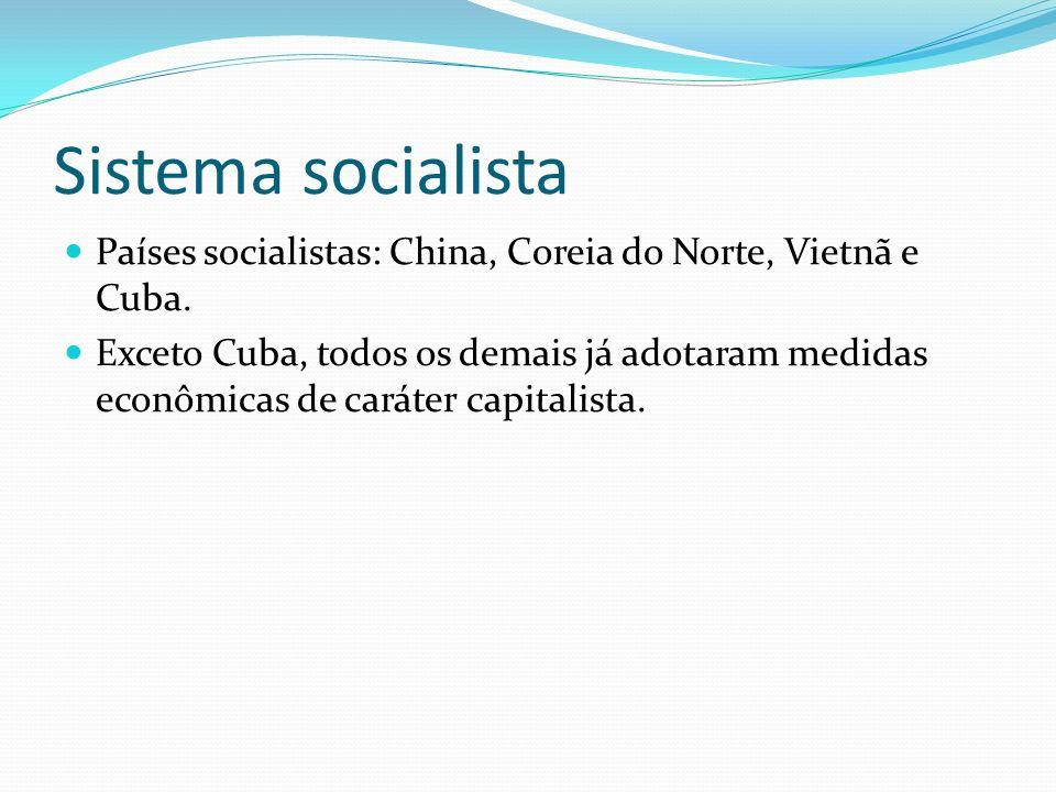 Sistema socialistaPaíses socialistas: China, Coreia do Norte, Vietnã e Cuba.