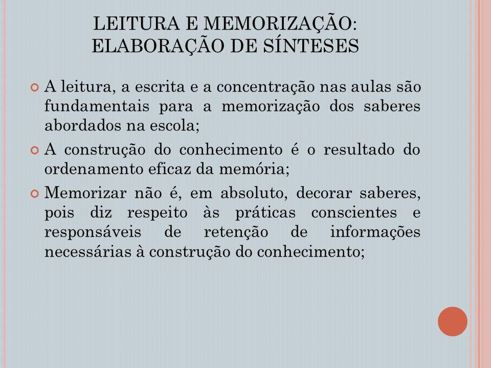 LEITURA E MEMORIZAÇÃO: ELABORAÇÃO DE SÍNTESES