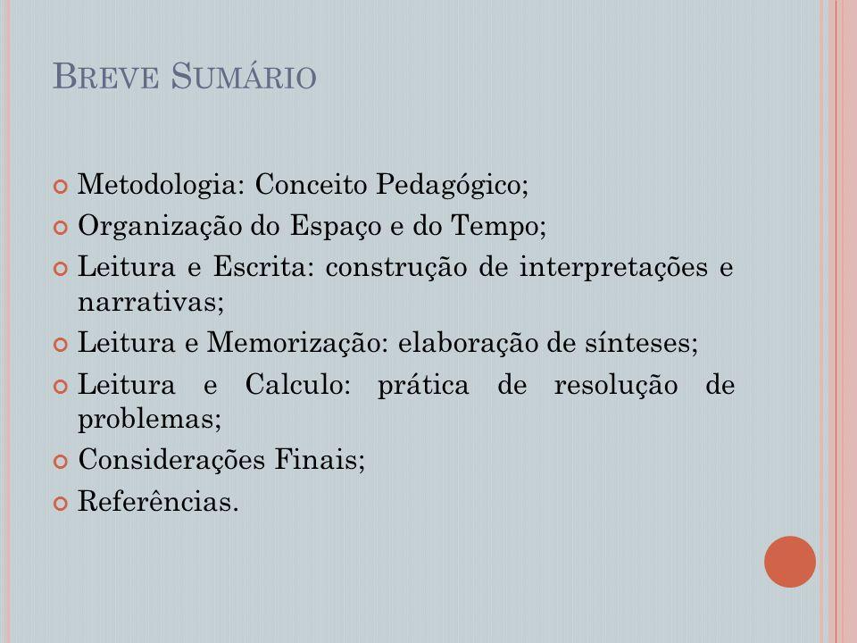 Breve Sumário Metodologia: Conceito Pedagógico;