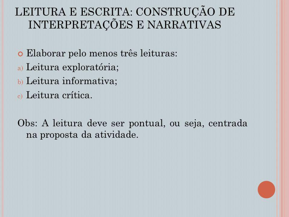 LEITURA E ESCRITA: CONSTRUÇÃO DE INTERPRETAÇÕES E NARRATIVAS