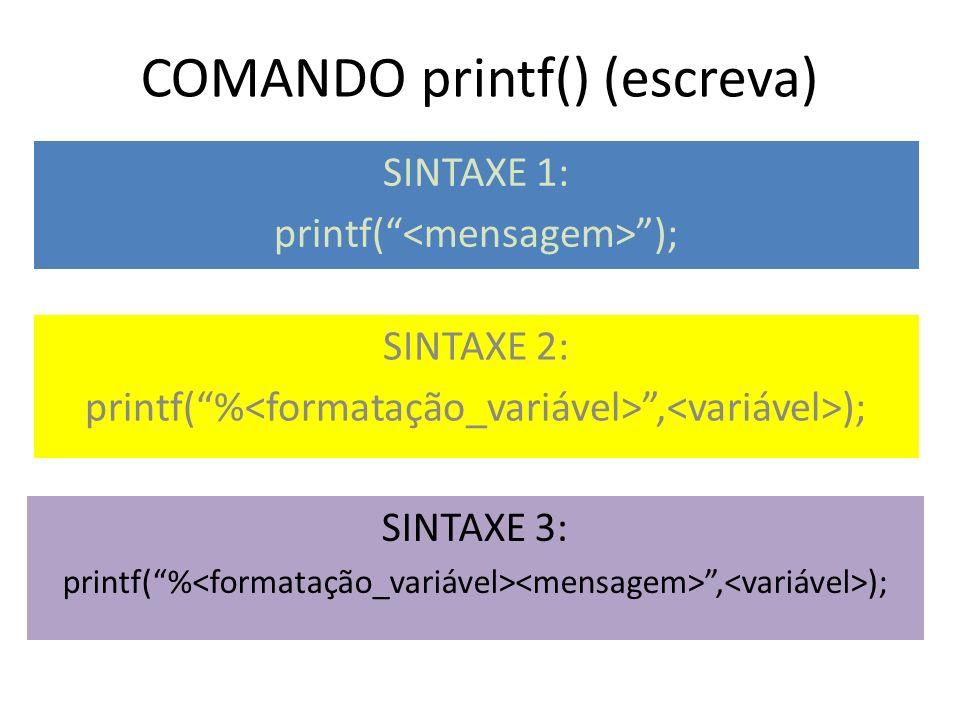 COMANDO printf() (escreva)