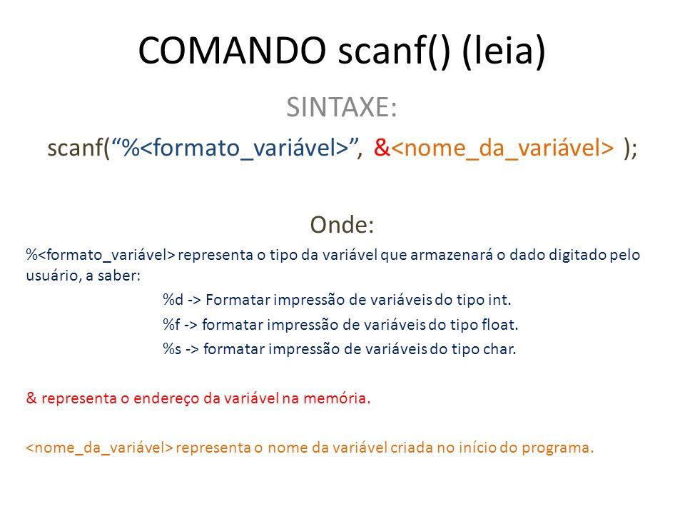 COMANDO scanf() (leia)
