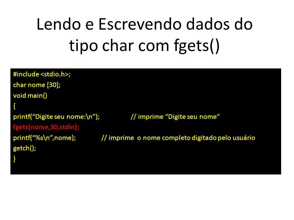 Lendo e Escrevendo dados do tipo char com fgets()