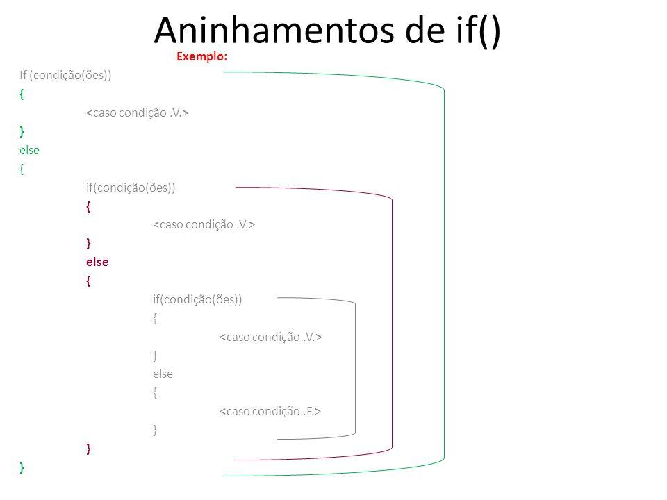 Aninhamentos de if() Exemplo: If (condição(ões)) {