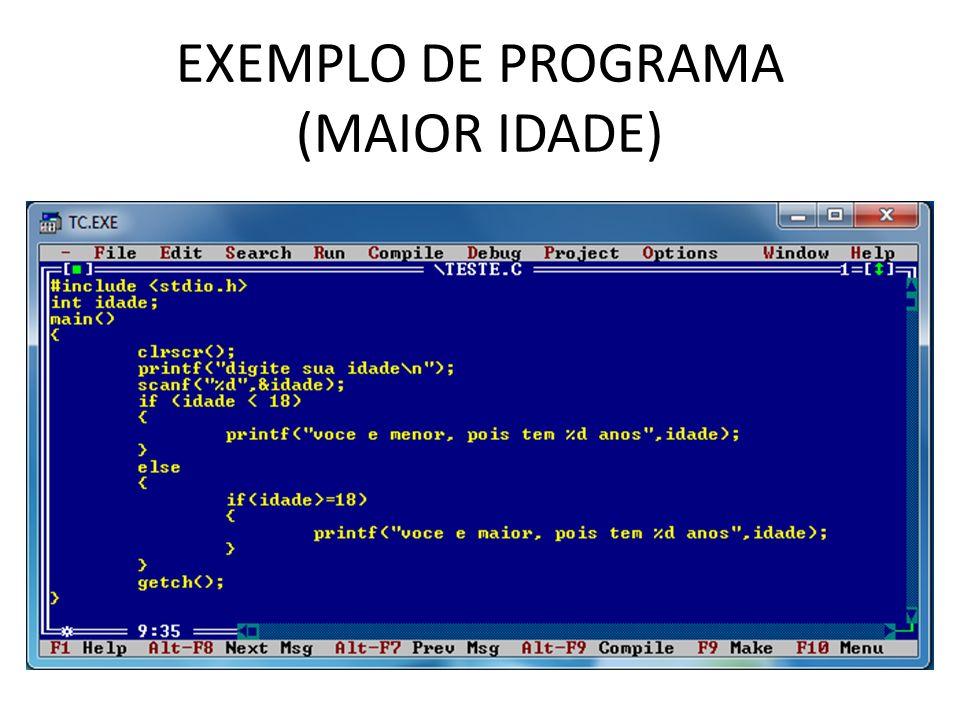 EXEMPLO DE PROGRAMA (MAIOR IDADE)