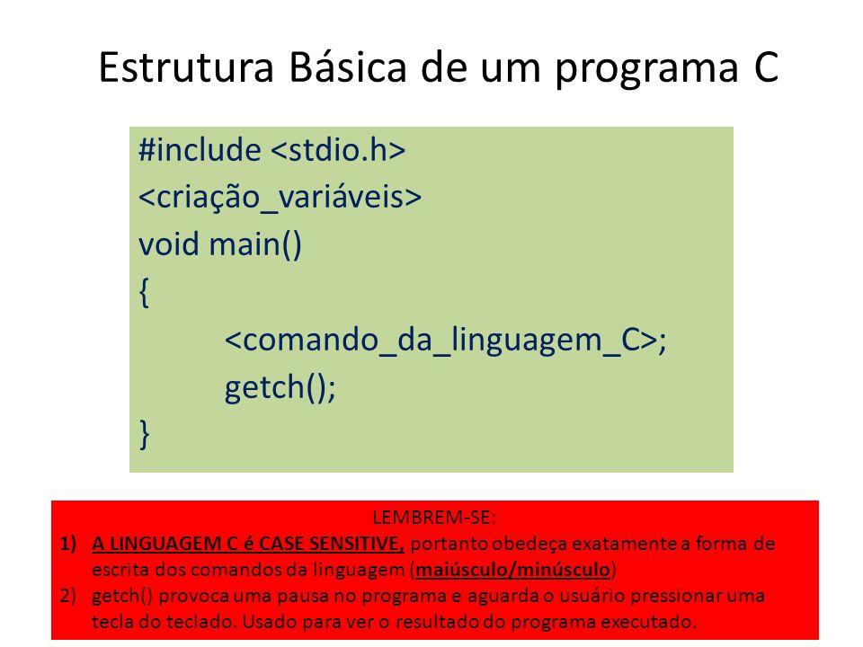 Estrutura Básica de um programa C