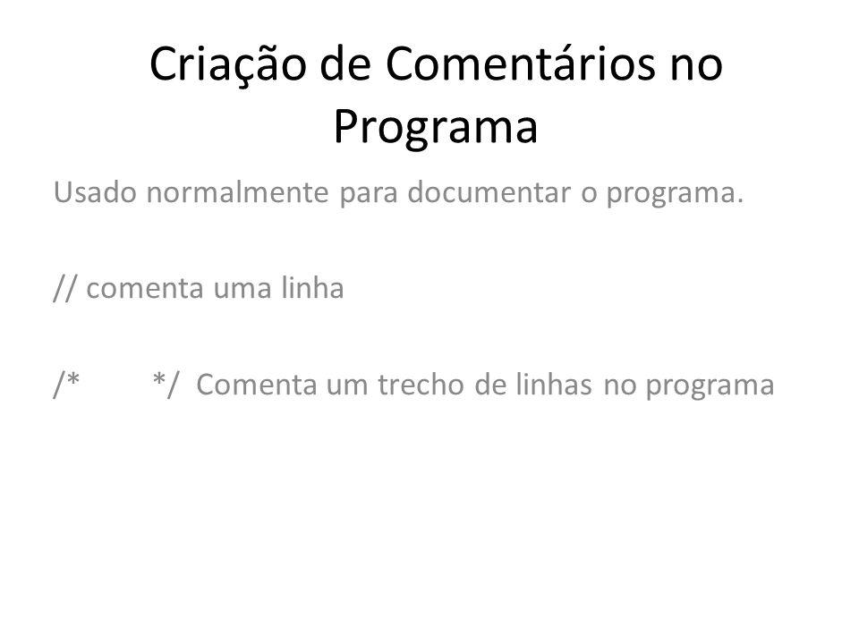 Criação de Comentários no Programa