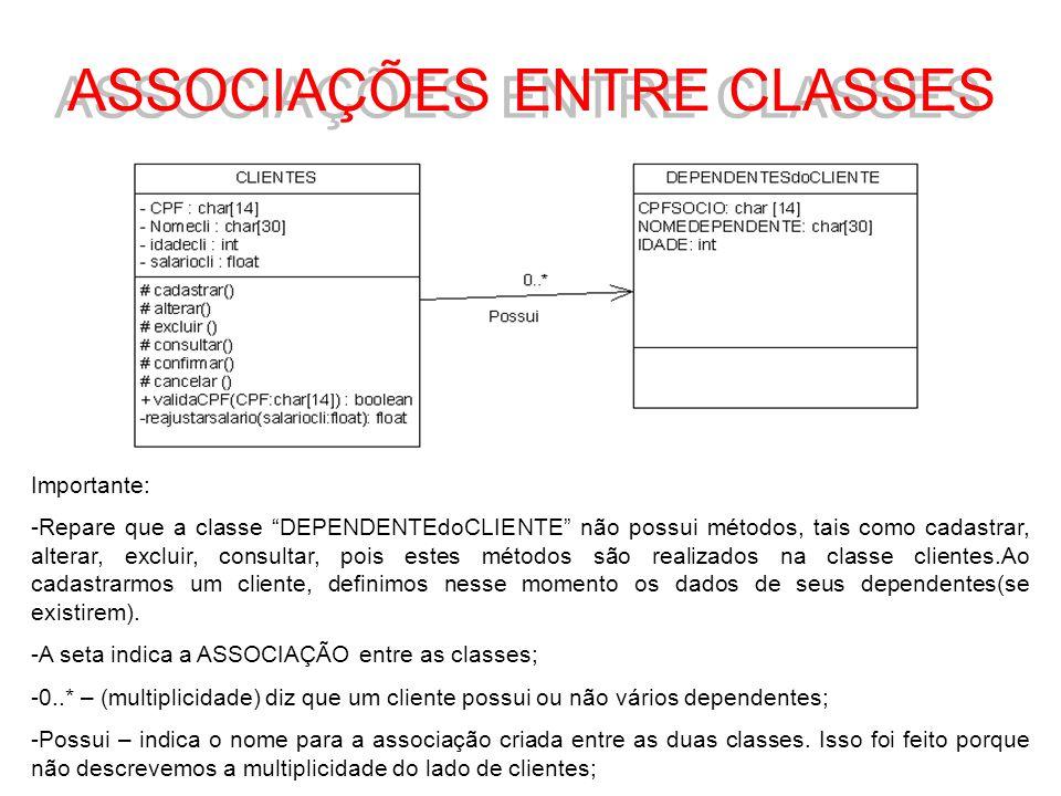 ASSOCIAÇÕES ENTRE CLASSES