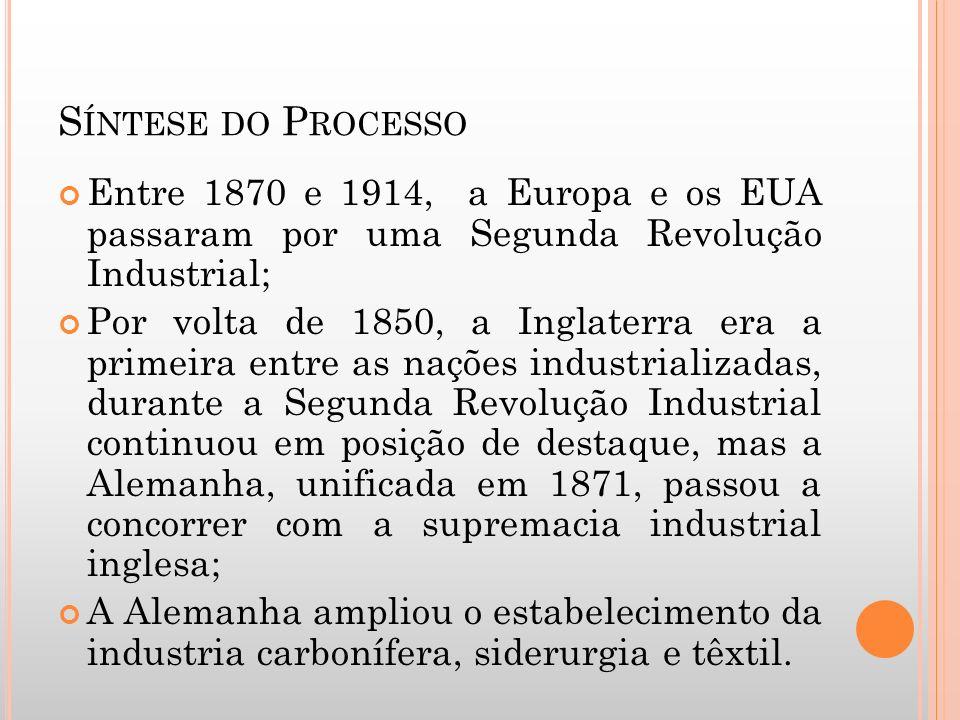 Síntese do ProcessoEntre 1870 e 1914, a Europa e os EUA passaram por uma Segunda Revolução Industrial;