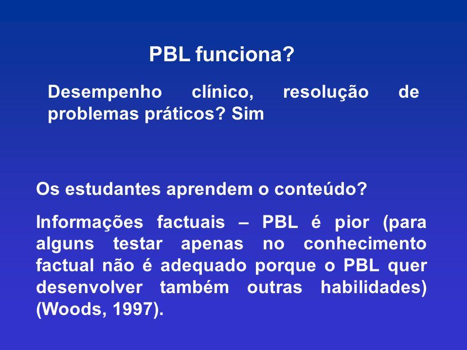 PBL funciona Desempenho clínico, resolução de problemas práticos Sim