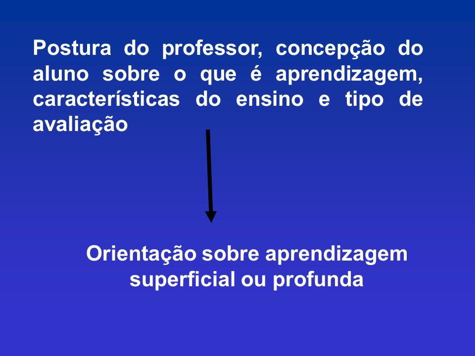 Orientação sobre aprendizagem superficial ou profunda