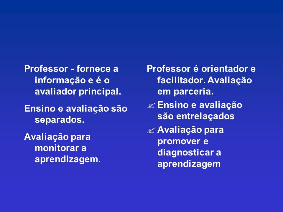 Professor - fornece a informação e é o avaliador principal.