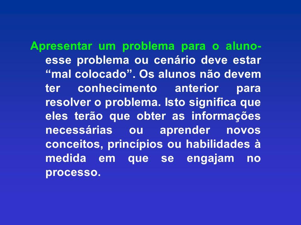 Apresentar um problema para o aluno- esse problema ou cenário deve estar mal colocado .
