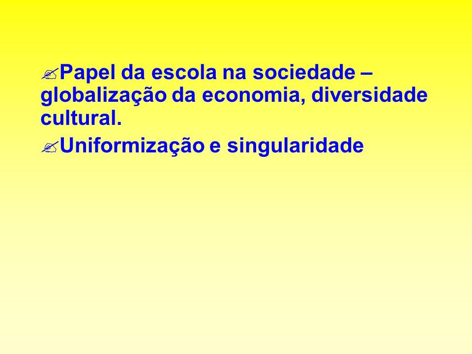 Papel da escola na sociedade – globalização da economia, diversidade cultural.